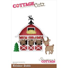 """CC924 CottageCutz Dies Reindeer Stable 3.6""""X3.5"""""""