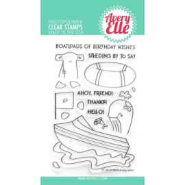 "634446 Avery Elle Clear Stamp Set Peek-A-Boo Boat 4""X6"""