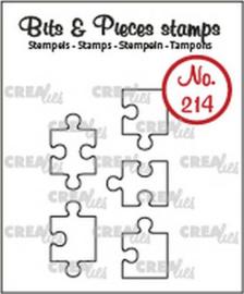 CLBP214 Crealies Clearstamp Bits & Pieces 5x puzzelstukjes (omlijning)