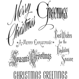 "CMS 352 Tim Holtz Cling Stamps Christmastime 7""X8.5"""
