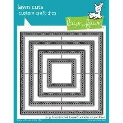 LF1182 Lawn Cuts Custom Craft Stackables Dies Large Cross Stitched Square