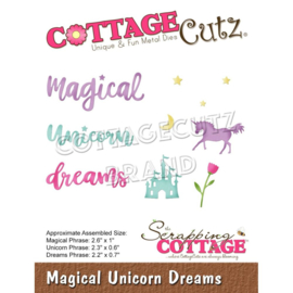 "CCE606 CottageCutz Dies Magical Unicorn Dreams .4"" To 2.6"""