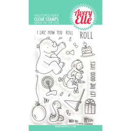 "634440 Avery Elle Clear Stamp Set Unicycle 4""X6"""