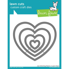 LF2175 Lawn Cuts Custom Craft DieJust Stitching Hearts
