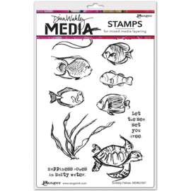 "343172 Dina Wakley Media Cling Stamps Scribbly Fishes 6""X9"""