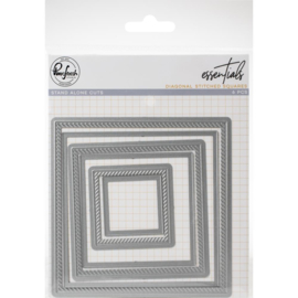 620258 PinkFresh Die Diagonal Stitched Squares