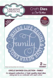 CED26007 Creative Expressions Circle sayings craft die Family
