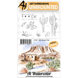 605090 Art Impressions Bible Journaling Watercolor Rubber Stamps WC Desert