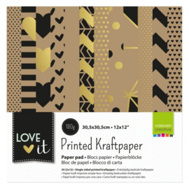 "200106-002 Vaessen Creative Love It kraft paper 12x12"" 2x12 single side"