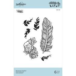 SBS185 Spellbinders Cling Stamps Botanical Feather By Stephanie Low