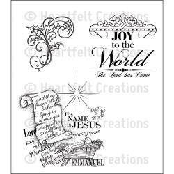 HCPC3683 Heartfelt Creations Cling Rubber Stamp Set Joy To The World