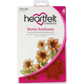 HCPC3962 Heartfelt Creations Cling Rubber Stamp Set Rustic Sunflower