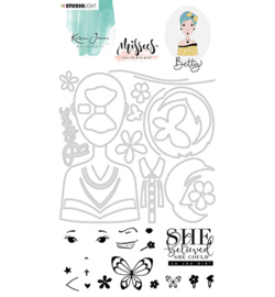 BASICSDCKJ03 SL Karin Joan Clear Stamp & Die Cut Carol Missees Collection, nr.03