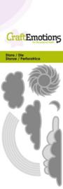 115633/0182 CraftEmotions Die - Wolken zon regenboog Card