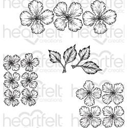 "546688 Heartfelt Creations Cling Rubber Stamp Set Oakberry Lane Blossoms 1.5"" To 5"""