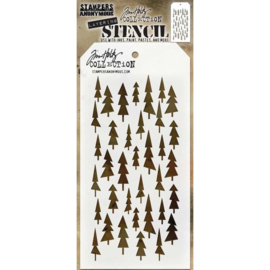 "THS 150 Tim Holtz Layered Stencil  Tree Lot 4.125""X8.5"""
