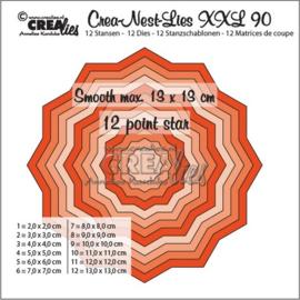 115634/0190 Crealies Crea-Nest-Lies XXL no 90 gladde 12 puntige ster