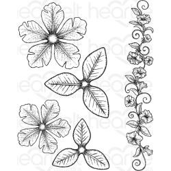 "446854 Heartfelt Creations Cling Rubber Stamp Set Large Classic Petunia 1.25"" To 6.25"""