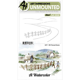 644044 Art Impressions Watercolor Clear Stamps Fenced Scene