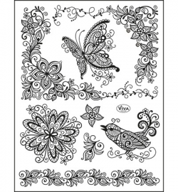 6976 Viva Decor Clear Stamps  Scribble Butterfly