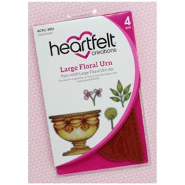 HCPC3931 Heartfelt Creations Cling Rubber Stamp Set Large Floral Urn