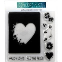 """371131 Concord & 9th Clear Stamps Monogram Heart 4""""X4"""""""