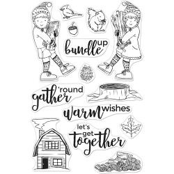"520929 Hero Arts Clear Stamps Bundle Up 4""X6"""