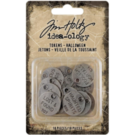 TH94064  IIdea-Ology Metal Quote Tokens Halloween 18/Pkg