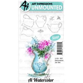 571634 Art Impressions Watercolor Cling Rubber Stamps Decorative Jar