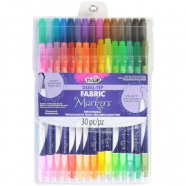 394862 Tulip Chisel-Tip Fabric Markers Assorted  30/Pkg