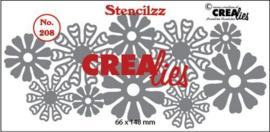 CLBP208 Crealies Stencilzz no. 208 bloemetjes