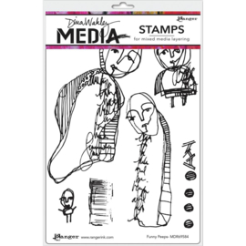 "617329 Dina Wakley Media Cling Stamps Funny Peeps 6""X9"""