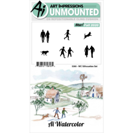 644042 Art Impressions Watercolor Cling Rubber Stamps Silhouettes