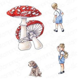 EB933 Stamping Bella Cling Stamps Edgar And Molly's Vintage Mushroom Set