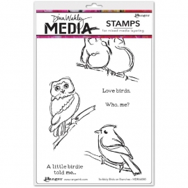 320632 Dina Wakley Media Cling Stamps Scribbly Birds On Branches