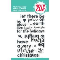 "541779 Avery Elle Clear Stamp Set Corner Sentiments-Holiday 4""X6"""