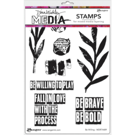"638844 Dina Wakley Media Cling Stamps Be Willing 6""X9"""