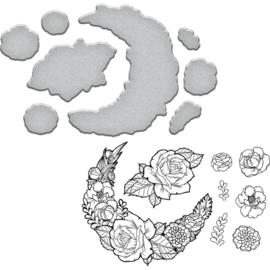 SDS098 Spellbinders Stamp & Die Set Good Vibes-Moon Flower By Stephanie Low