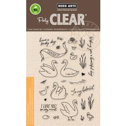 "HA-CM230 Hero Arts Clear Stamps Swans & Cattails 4""X6"""