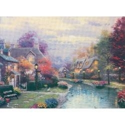 511740 Thomas Kinkade Lamplight Brooke Embellished Cross Stitch Kit