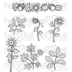 213206 HCPC3799 Heartfelt Creations Cling Rubber Stamp Set Sunflower Accents