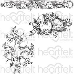"047864 Heartfelt Creations Cling Rubber Stamp Set Holly Berry Jingle 5""X6.5"""