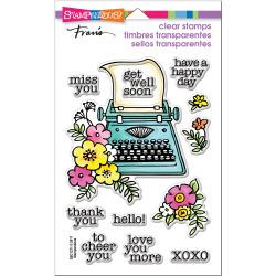 "215514 Stampendous Perfectly Clear Stamps Floral Typewriter 7.25""X4.625"""