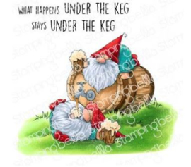 EB942 Stamping Bella Cling Stamps Two Gnomes Under A Keg