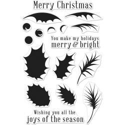 """HA-CM180 Hero Arts Clear Stamps Color Layering Holly 4""""X6"""""""