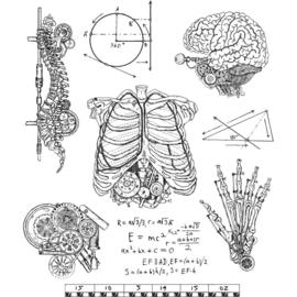 "CMS 379 Tim Holtz Cling Stamps Weird Science 7""X8.5"""