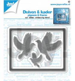 6002/1452 Snij-debos-embosstencil lijst/duifen