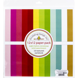 """644857 Doodlebug Textured Double-Sided Cardstock Night Before Christmas 12""""X12"""" Pack"""