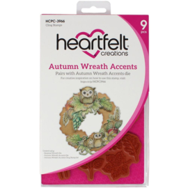 HCPC3966 Heartfelt Creations Cling Rubber Stamp Set Autumn Wreath Accents