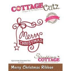 "416443 CottageCutz Elites Die Merry Christmas Ribbon, 2.7""X3"""